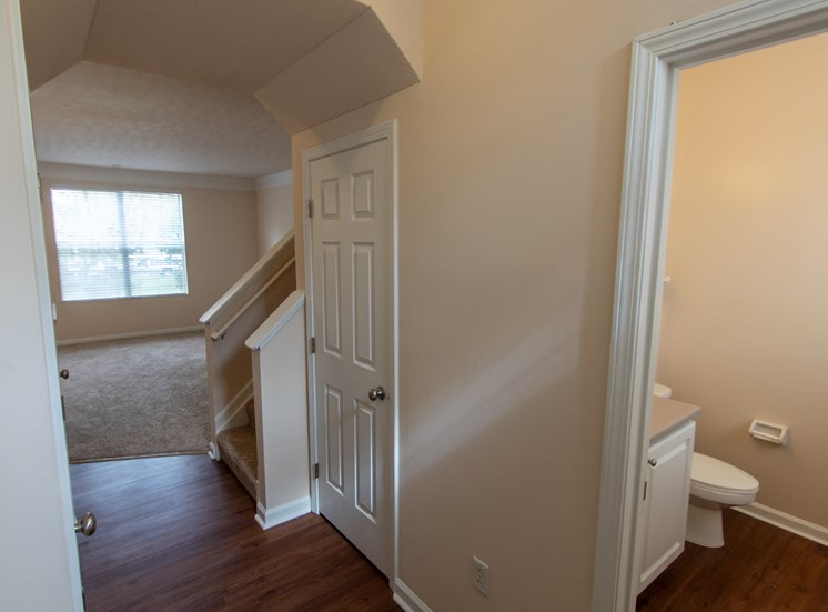 This is a photo of the entryway in the 1578 square foot, 3 bedroom Flagship floor plan at Nantucket Apartments in Loveland, OH.