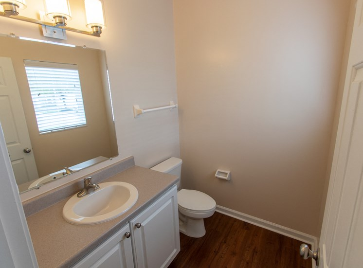 This is a photo of the half bath in the 1578 square foot, 3 bedroom Flagship floor plan at Nantucket Apartments in Loveland, OH.