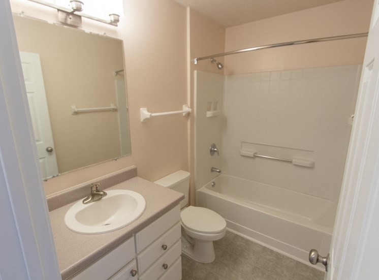 This is a photo of the bathroom in the 1578 square foot, 3 bedroom Flagship floor plan at Nantucket Apartments in Loveland, OH.