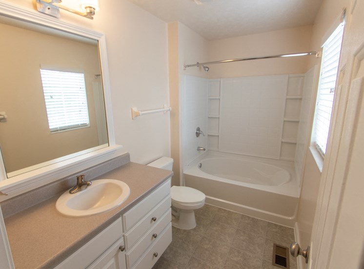This is a photo of the master bathroom in the 1578 square foot, 3 bedroom Flagship floor plan at Nantucket Apartments in Loveland, OH.