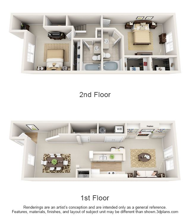 This is a 3D floor plan of a 1630 square foot 2 bedroom Spinnaker townhome at Nantucket Apartments in Loveland, OH.