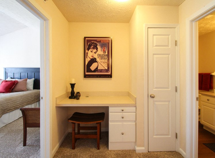 This is a photo of the built-in desk and linen closet in the 2 bedroom Atlantic floor plan at Nantucket Apartments in Loveland, OH.