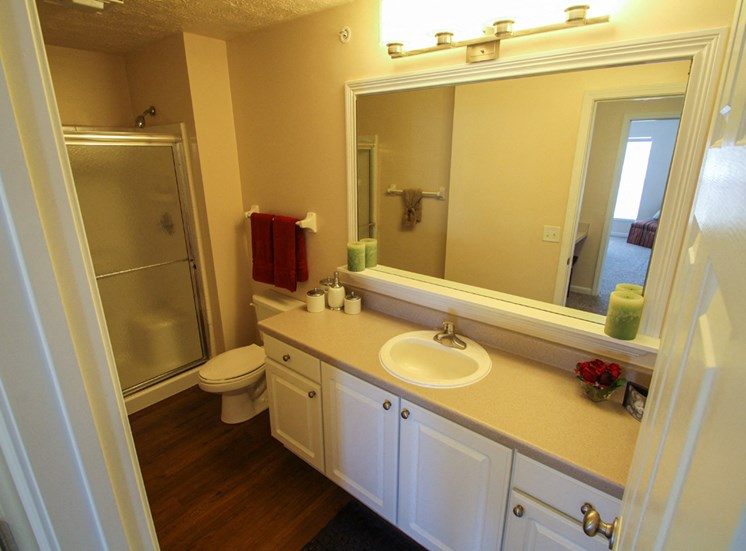 This is a photo of the bathroom in the 2 bedroom Atlantic floor plan at Nantucket Apartments in Loveland, OH.