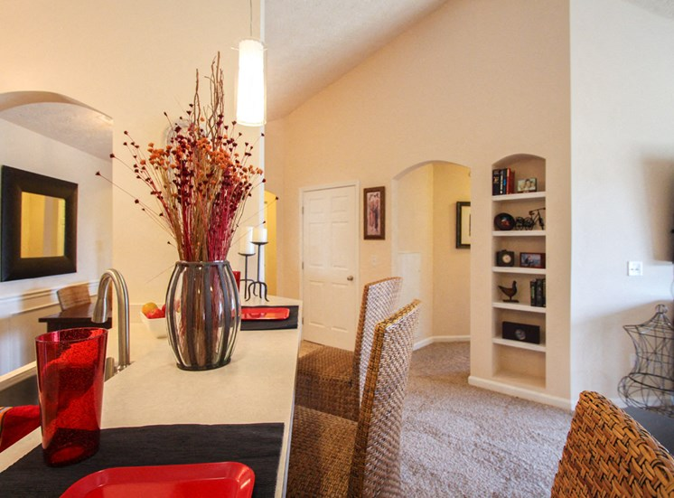 This is a photo of the kitchen/living room in the 2 bedroom Atlantic floor plan at Nantucket Apartments in Loveland, OH.