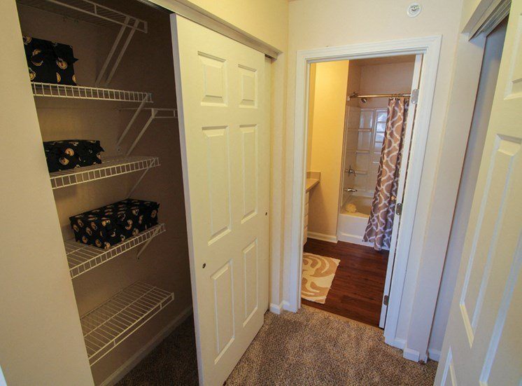 This is a photo of the master bedroom closets in the 2 bedroom Atlantic floor plan at Nantucket Apartments in Loveland, OH.