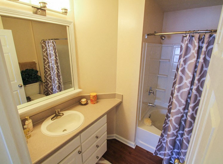 This is a photo of the master bathroom in the 2 bedroom Atlantic floor plan at Nantucket Apartments in Loveland, OH.