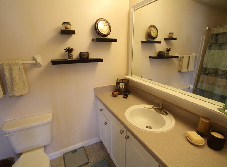 This is a photo of the bathroom in the 1 bedroom Clipper floor plan at Nantucket Apartments in Loveland, OH.