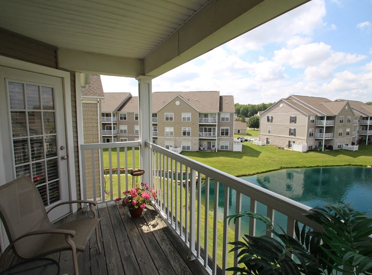 This is a photo looking over Nantucket from the balcony of the 1 bedroom Clipper floor plan at Nantucket Apartments in Loveland, OH.