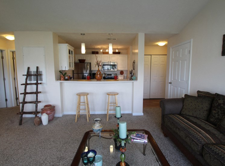 This is a photo of the living room in the 1 bedroom Clipper floor plan at Nantucket Apartments in Loveland, OH.