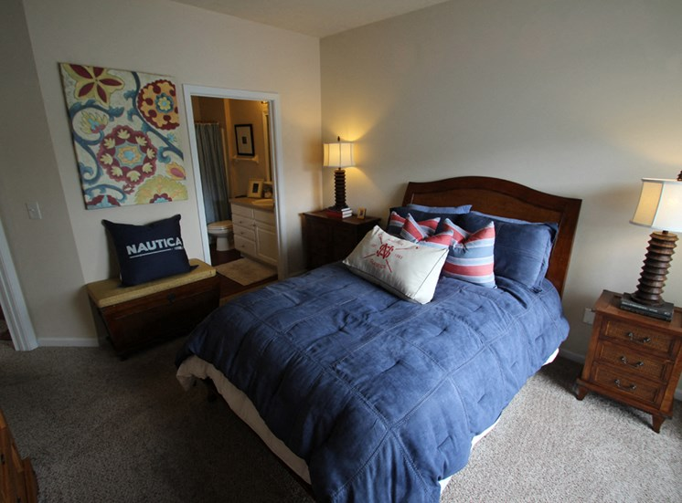 This is a photo of the master bedroom in the 2 bedroom Islander floor plan at Nantucket Apartments in Loveland, OH.