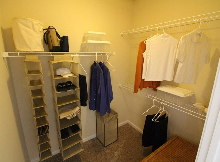 This is a photo of the walk-in closet of the master bedroom in the 2 bedroom Islander floor plan at Nantucket Apartments in Loveland, OH.