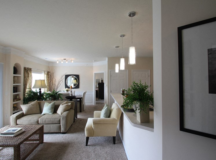 This is a photo of the living room in the 2 bedroom Islander floor plan at Nantucket Apartments in Loveland, OH.