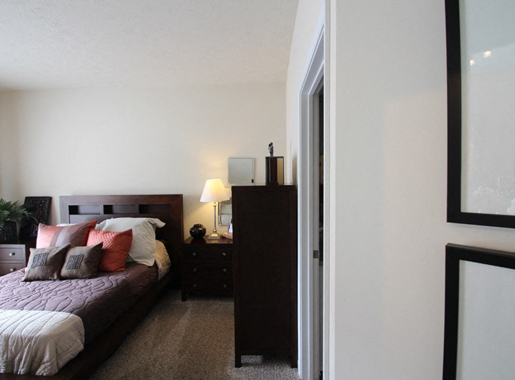 This is a photo of the 2nd bedroom in the 2 bedroom Islander floor plan at Nantucket Apartments in Loveland, OH.