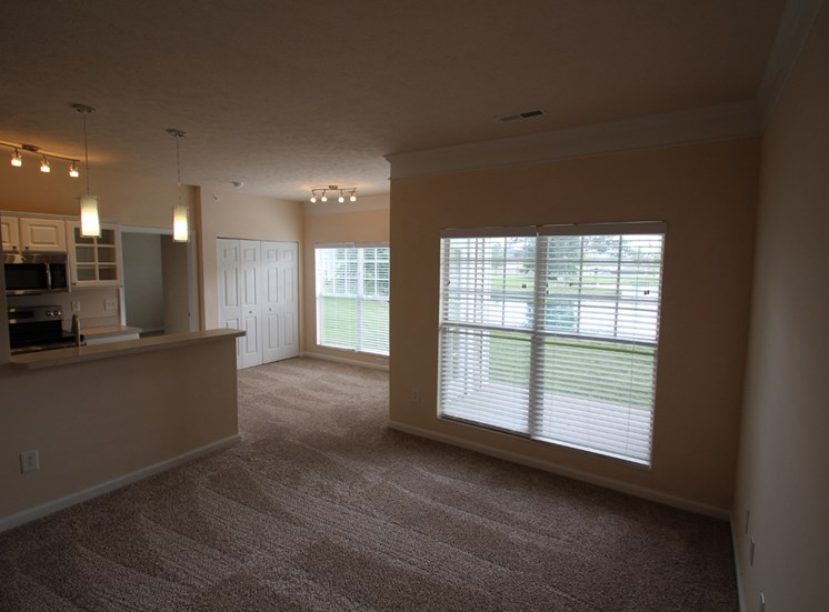 This is a photo of the living room in the Nautica floor plan at Nantucket Apartments in Loveland, OH.