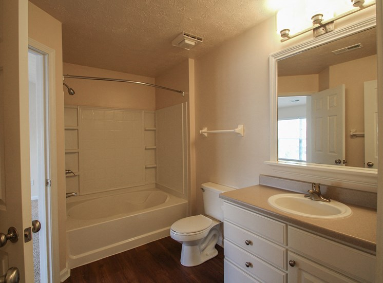 This is a photo of the bathroom in the 1 bedroom Patriot floor plan at Nantucket Apartments in Loveland, OH.