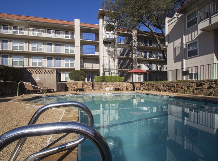 This is a photo of the pool at Princeton Court Apartments in Dallas, Texas.
