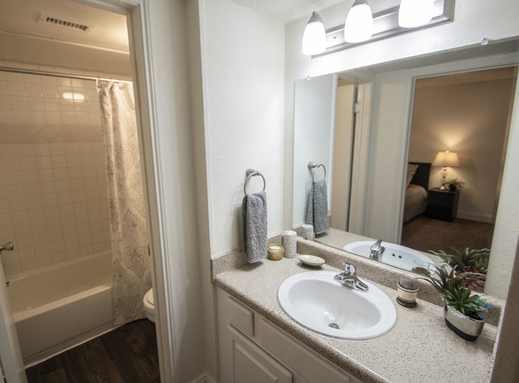 This is a photo of the bathroom in the 653 square foot 1 bedroom apartment at Princeton Court Apartments in Dallas, TX.