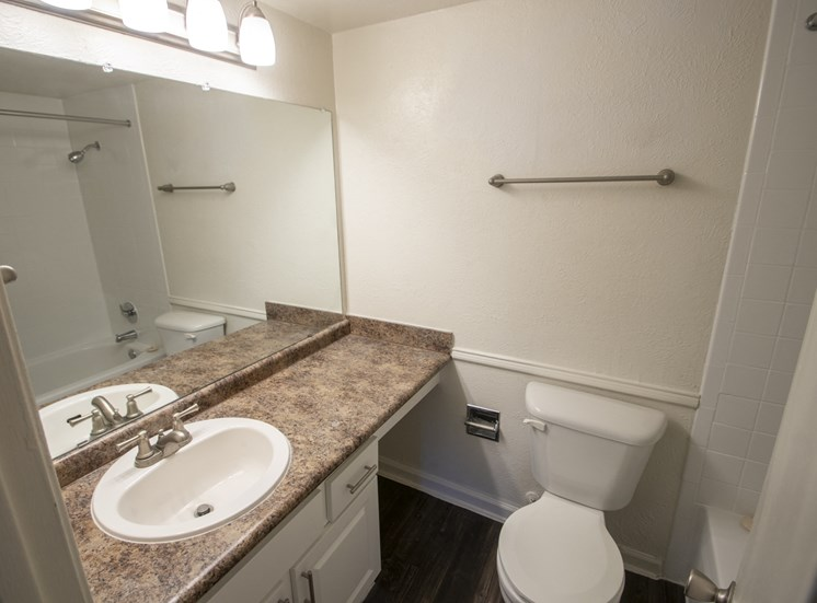 This is a photo of the master bathroom in the 1060 square foot 2 bedroom apartment at Princeton Court Apartments in Dallas, TX.