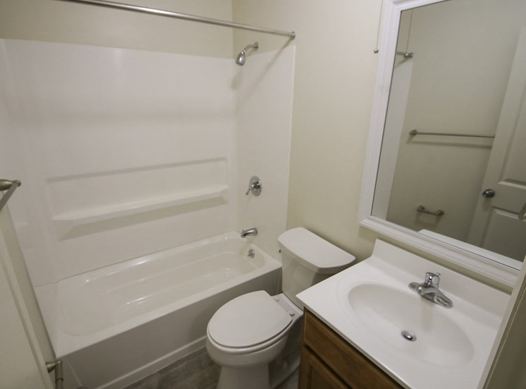 This is a photo of the bathroom in a 750 square foot 2 bedroom, 1 bath apartment at Park Lane Apartments in Cincinnati, OH.