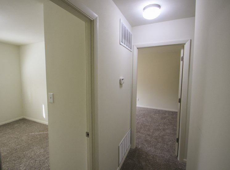 This is a photo of the hallway in a 750 square foot 2 bedroom, 1 bath apartment at Park Lane Apartments in Cincinnati, OH.