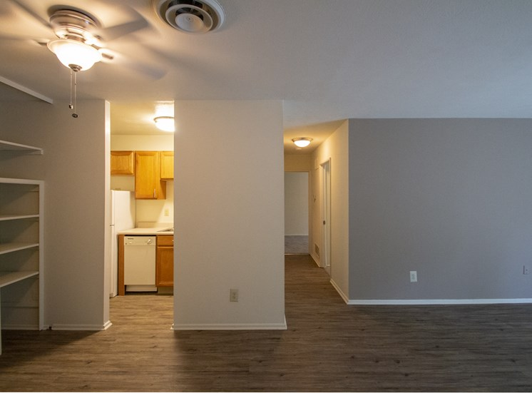 This is a photo of the hallway showing the linen closet in a 750 square foot 2 bedroom, 1 bath apartment at Park Lane Apartments in Cincinnati, OH.
