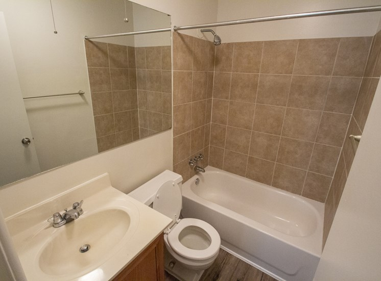 This is a photo of the bathroom in a 750 square foot 2 bedroom, 2 bath apartment at Park Lane Apartments in Cincinnati, OH.
