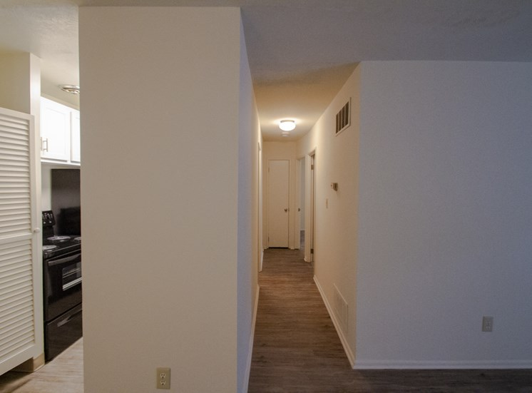 This is a photo of the hallway in a 849 square foot 2 bedroom, 2 bath apartment at Park Lane Apartments in Cincinnati, OH.