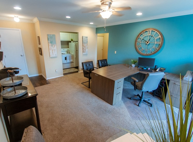 This is a picture of the living room (and Leasing Office) in a 755 square foot 2 bedroom aprtment at Romaine Court Apartments in Cincinnati, OH.