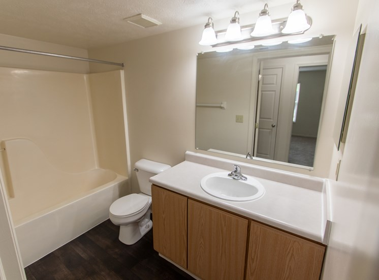 This is photo of the bathroom in the 1056 square foot, 2 bedroom Gainsway floor plan at Trails of Saddlebrook Apartments in Florence, KY.