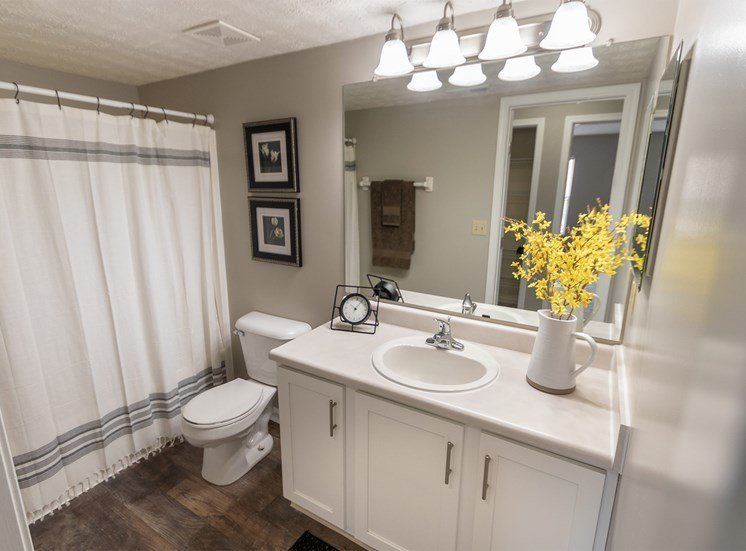 This is a photo of the bathroom in the 1226 square foot 3 bedroom Hambletonian at Trails of Saddlebrook Apartments in Florence, KY.
