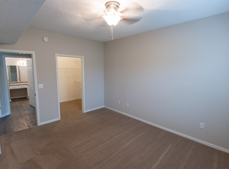 This is a photo of the bedroom in the 900 square foot 1 bedroom Haven floor plan at The Sanctuary at Fishers Apartments in Fishers, IN.