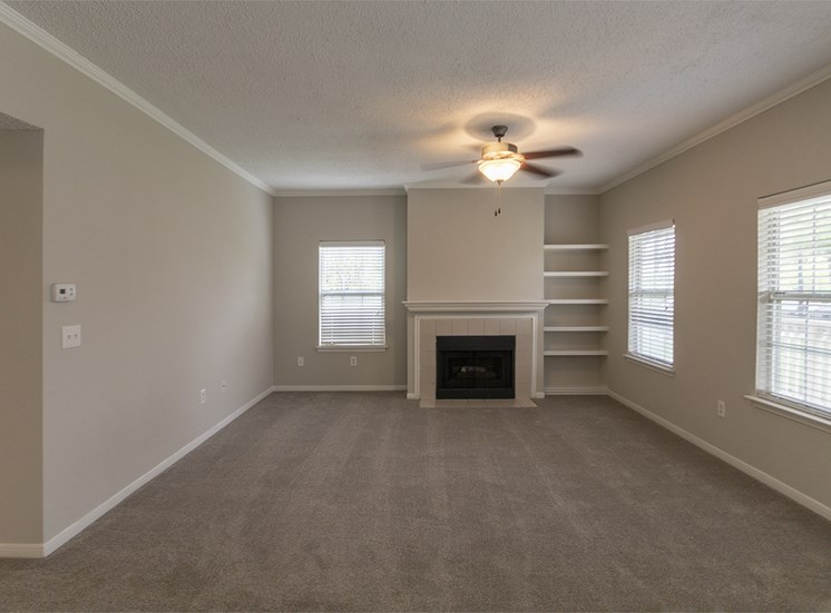 This is a photo of the living room in the 1515 square foot 3 bedroom Zen floor plan at The Sanctuary at Fishers Apartments in Fishers, IN.
