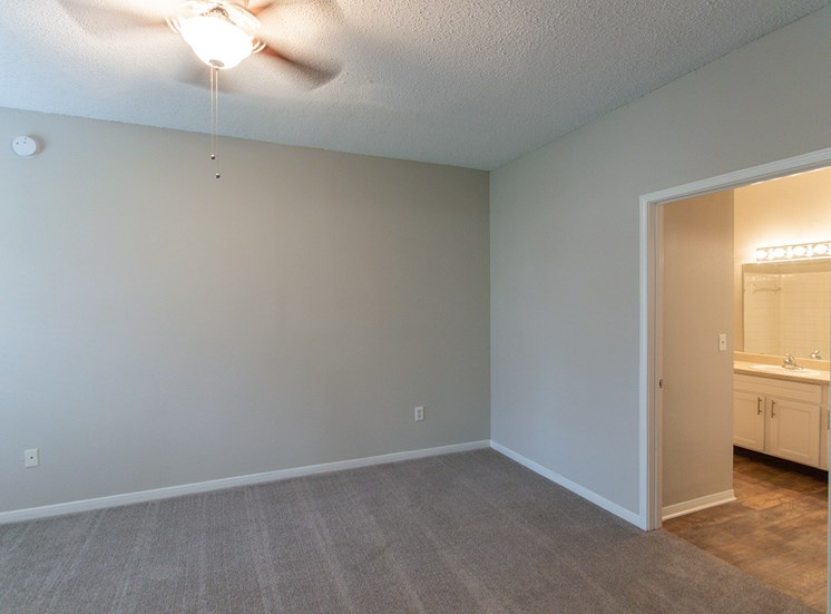 This is a photo of the master bedroom in the 1515 square foot 3 bedroom Zen floor plan at The Sanctuary at Fishers Apartments in Fishers, IN.
