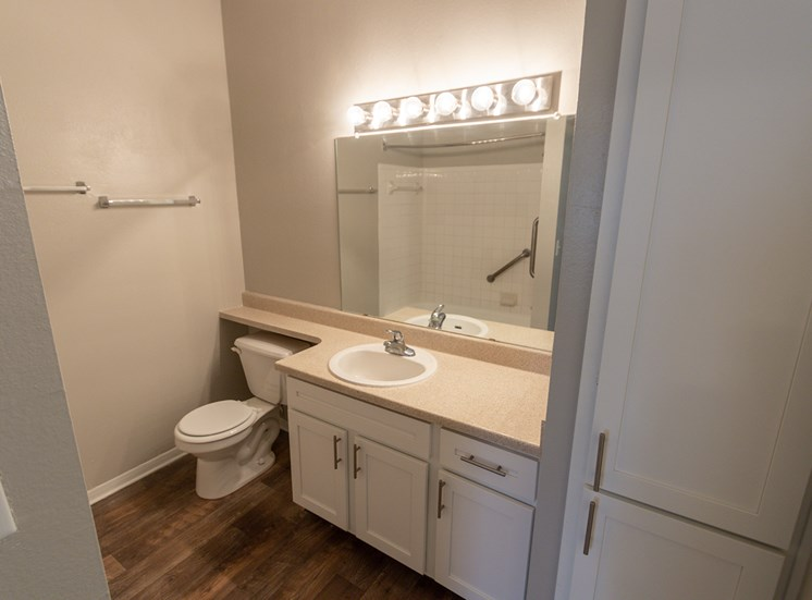 This is a photo of the master bathroom in the 1515 square foot 3 bedroom Zen floor plan at The Sanctuary at Fishers Apartments in Fishers, IN.