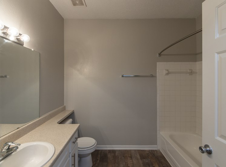 This is a photo of the bathroom in the 1515 square foot 3 bedroom Zen floor plan at The Sanctuary at Fishers Apartments in Fishers, IN.