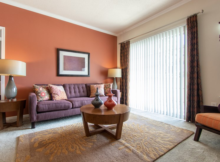 This is a photo of the living room in the 1135 square foot 2 bedroom Retreat floor plan at The Sanctuary at Fishers Apartments in Fishers, IN.