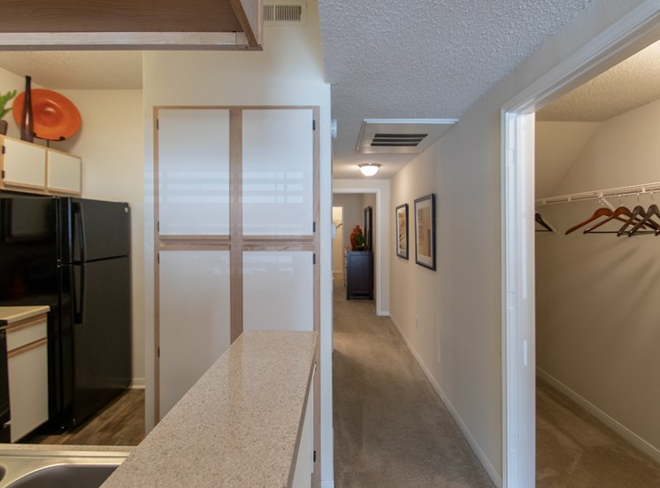 This is a photo of the hallway in the 1135 square foot 2 bedroom Retreat floor plan at The Sanctuary at Fishers Apartments in Fishers, IN.