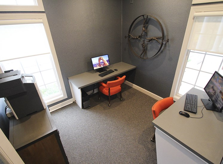 This is a photo of the business center in the resident clubhouse at the Sanctuary at Fishers Apartments in Fishers, IN.