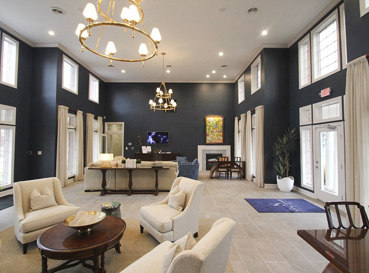 This is a photo of the resident clubhouse/Leasing Office interior at The Sanctuary at Fishers in Fishers, IN.