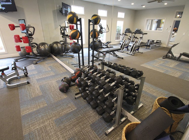 This is a photo of the 24-hour fitness center in the resident clubhouse at the Sanctuary at Fishers Apartments in Fishers, IN.