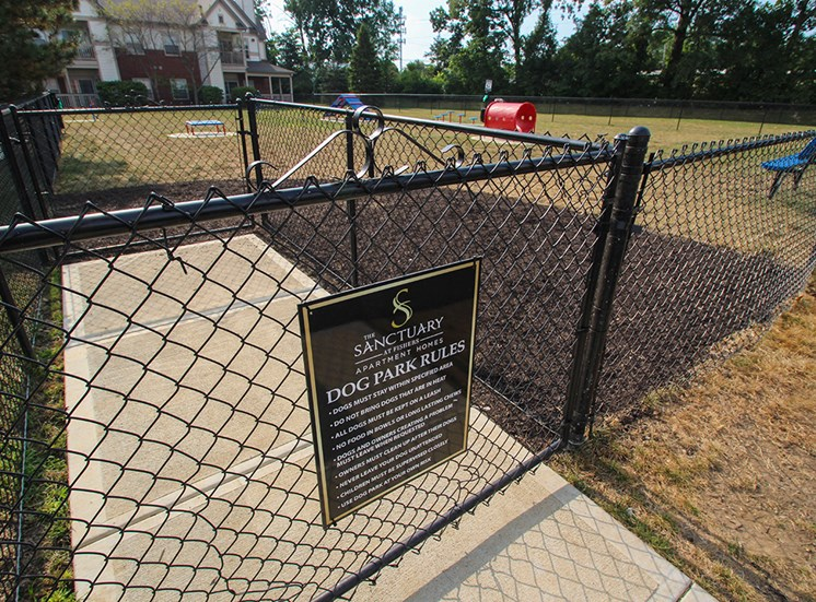 This is a photo of the entrance to the off leash dog park at The Sanctuary at Fishers in Fishers, IN.