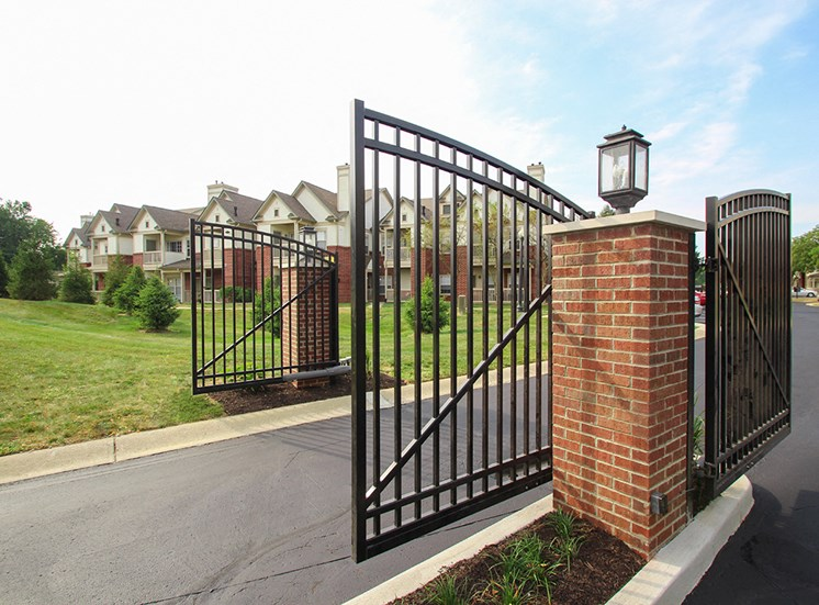 This is a photo of the gated entry to The Sanctuary at Fishers in Fishers, IN.