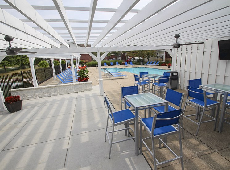 This is a photo of the BBQ/outdoor lounge area at The Sanctuary at Fishers in Fishers, IN.