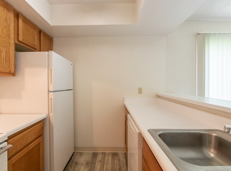 This is a photo of the kitchen in the  684 square foot, 1 bedroom floor plan at Village East Apartments in Franklin, OH.