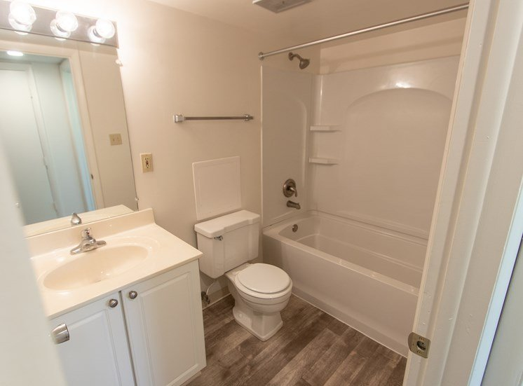 This is a photo of the bedroom in the  684 square foot, 1 bathroom floor plan at Village East Apartments in Franklin, OH.