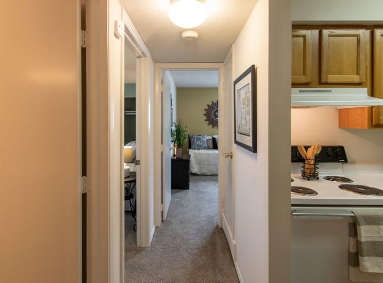 This is a photo of the hallway in the  822 square foot, 2 bedroom floor plan at Village East Apartments in Franklin, OH.