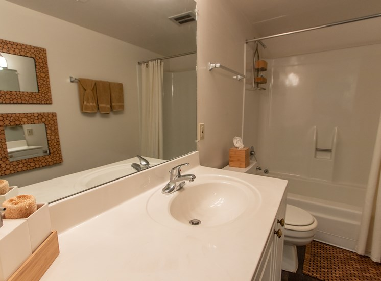 This is a photo of the bathroom in the  822 square foot, 2 bedroom floor plan at Village East Apartments in Franklin, OH.
