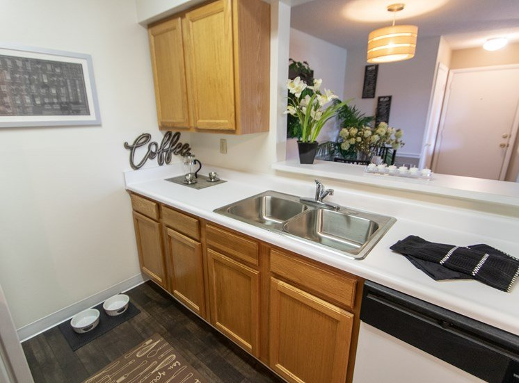 This is a photo of the kitchen in the  822 square foot, 2 bedroom floor plan at Village East Apartments in Franklin, OH.