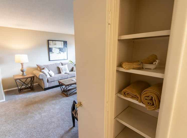 This is a photo of the linen closet in the  822 square foot, 2 bedroom floor plan at Village East Apartments in Franklin, OH.