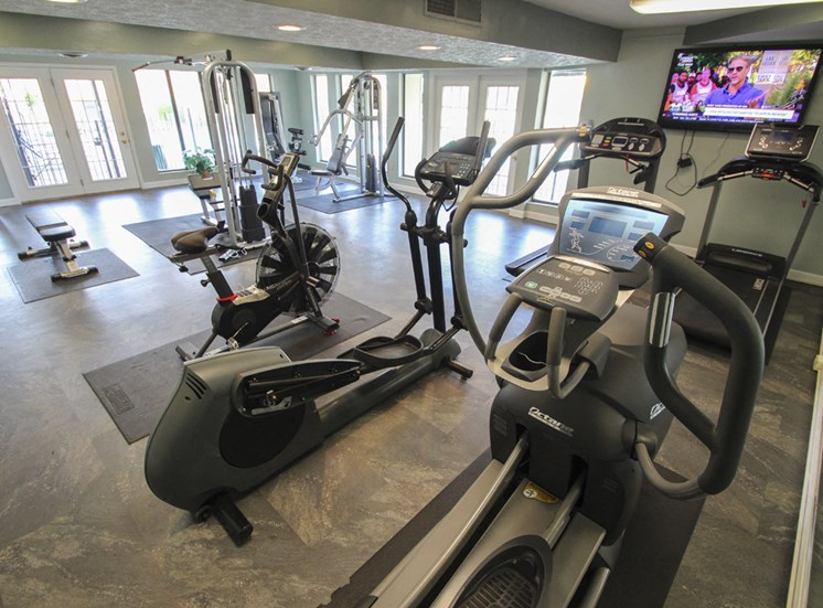 This is a photo of the 24-hour fitness center at Village East Apartments in Franklin, OH.